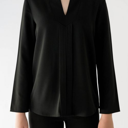 black long sleeve blouse close up