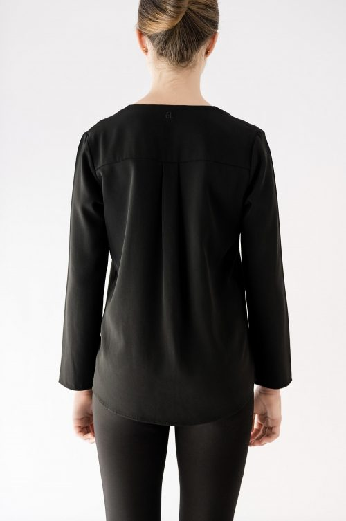 back iew of long sleeve black blouse