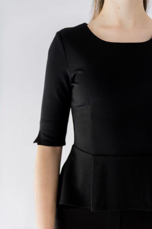 black peplum top pleat detail