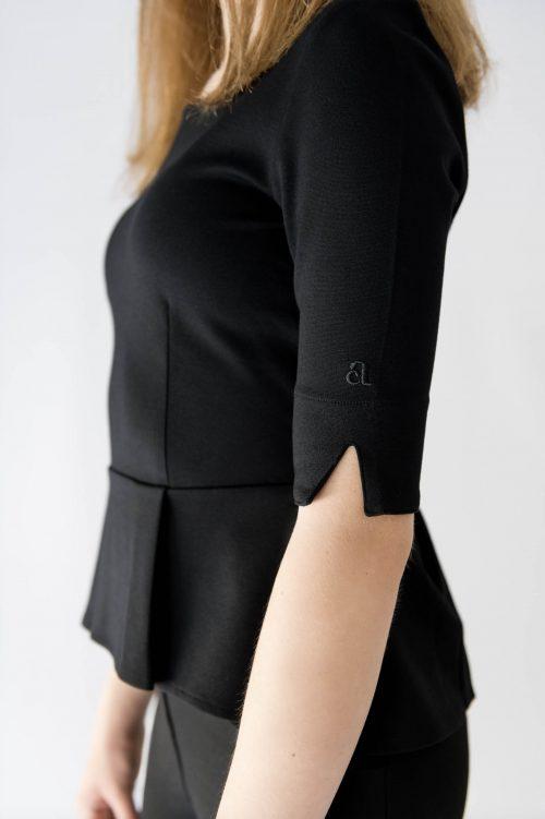 black peplum sleeve detail
