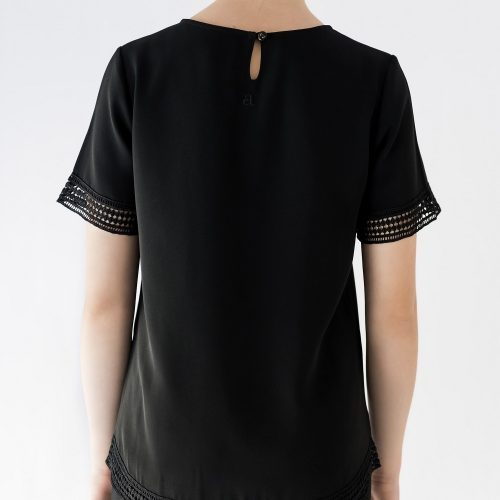 back of black blouse