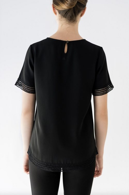 back of black blouse