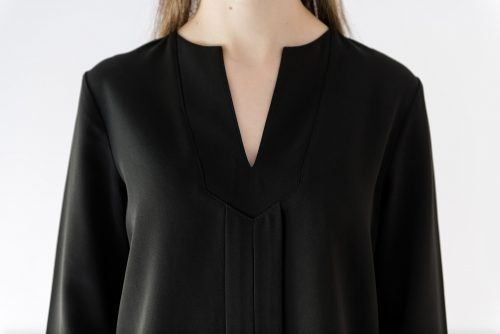 v neck detail long sleeve blouse