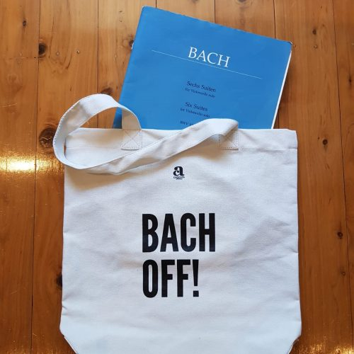 white music bag with Bach Off slogan